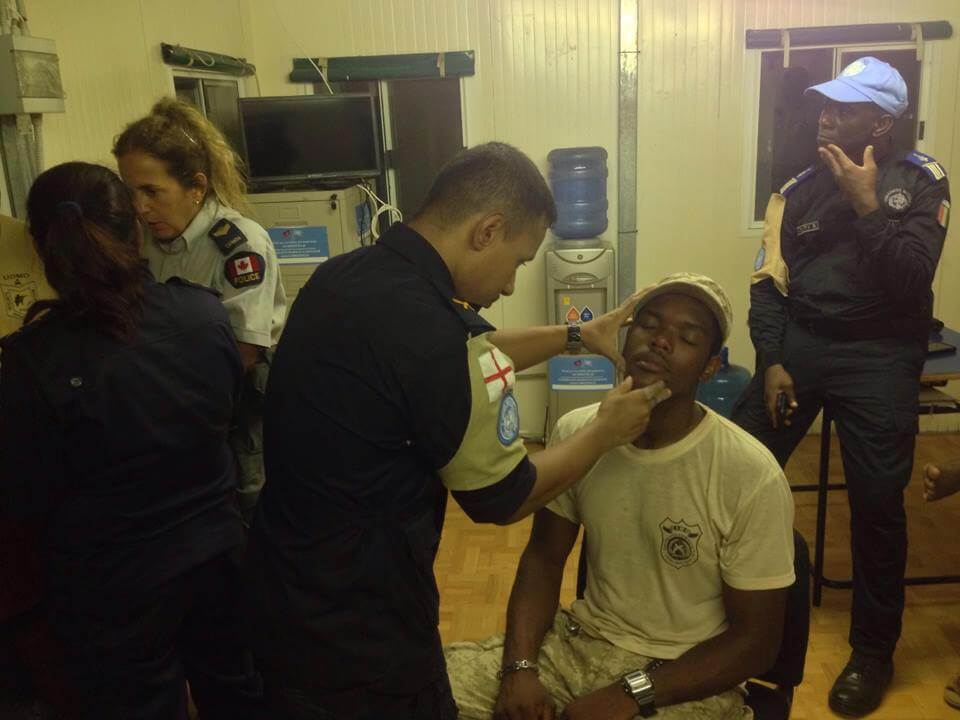 examining injured cops