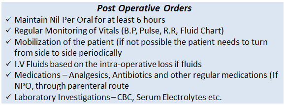 postoperative orders